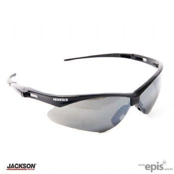 Óculos de segurança nemesis armação preta lente cinza espelhada.  Características  8d6b19496e