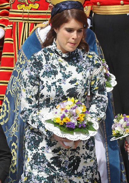 Queen Elizabeth II accompanied by Princess Eugenie of York, attended the Royal Maundy Service. Erdem Bernette floral print silk dress