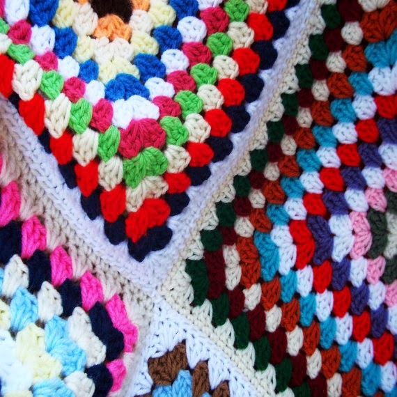 close up confetti afghan