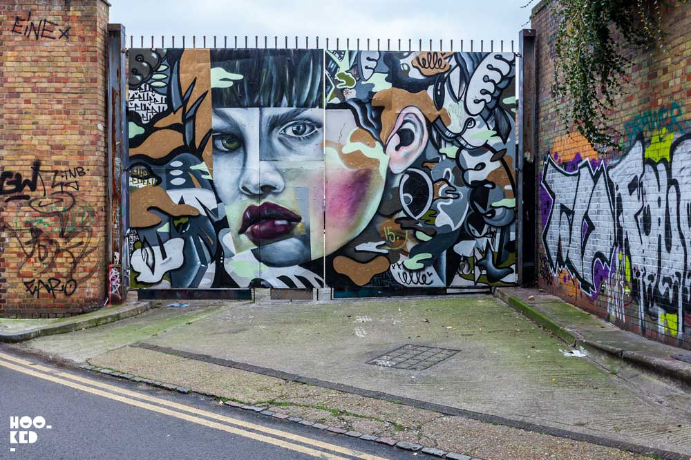 American street artist ELLE paints a Murals in East London while visiting the city.