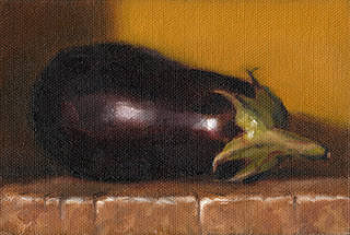 Still life oil painting of an eggplant laid on its side.