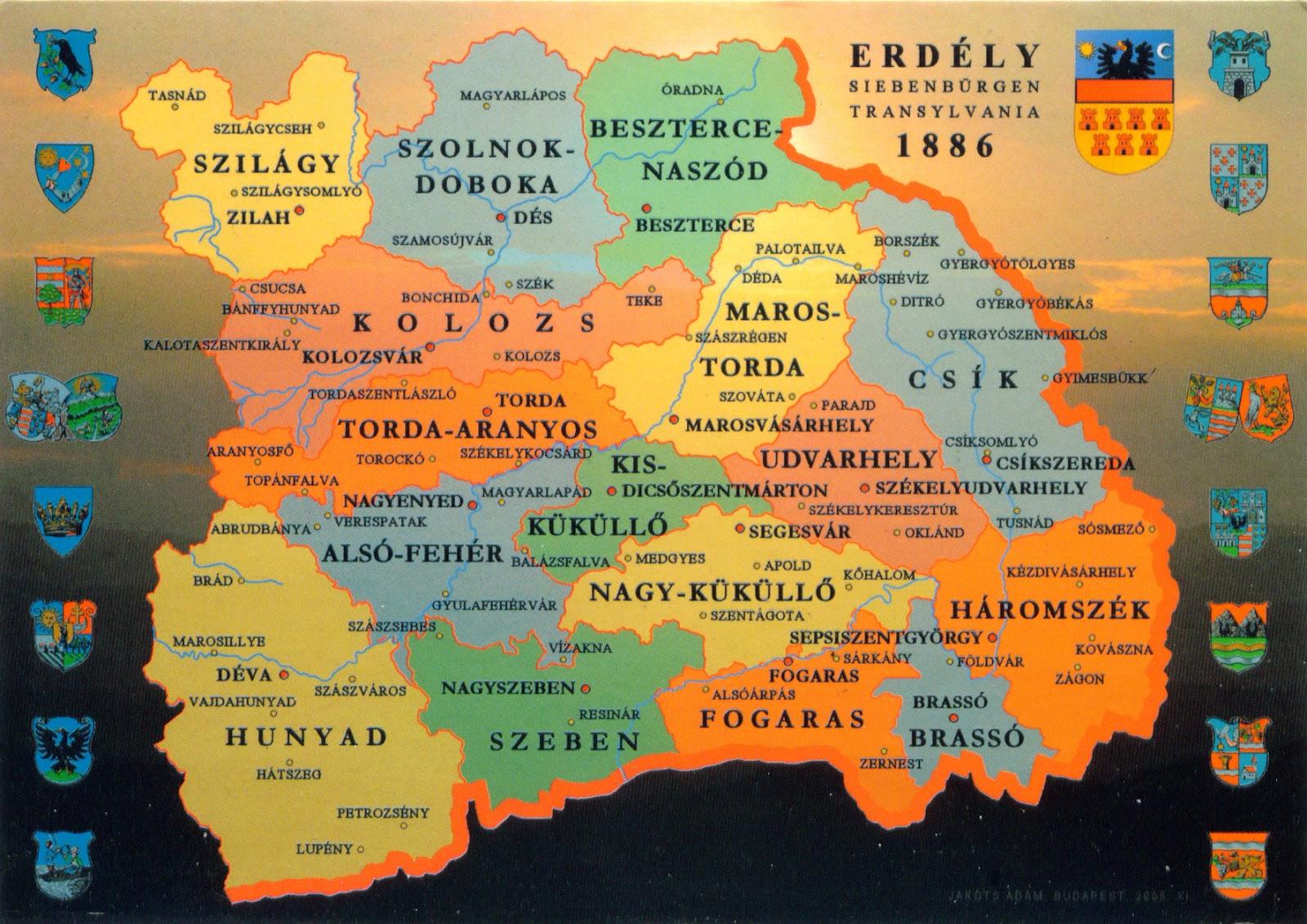 Wonderful 0493 ROMANIA   The Administrative Map Of Transylvania In 1886