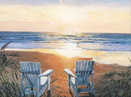 Sunset at the Beach two Chairs Art