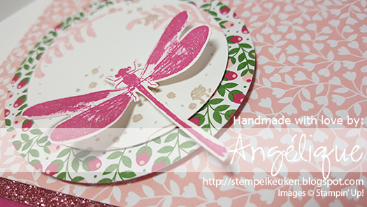 "http://stempelkeuken.blogspot.com De Stempelkeuken Awesomely Artistic, Love Blossoms DSP, Love Blossoms Cardstock, Rose Red, Blushing Bride, Blushing Bride Glimmer Paper, Piercing Tool, 2"" Circle Punch, 2 1/2"" Circle Punch, Archival Black"
