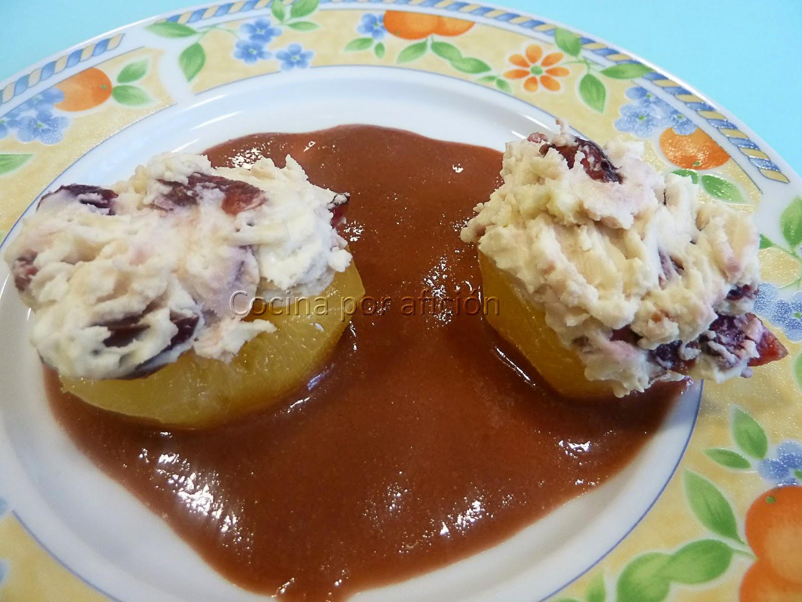 albaricoques, mascarpone,cerezas