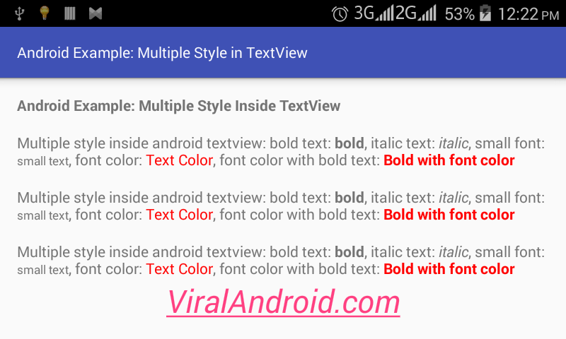 How to Make Multiple Styles Inside Android TextView | Viral