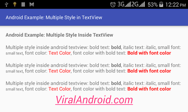 Android Example: How to Make Multiple Styles Inside Android TextView