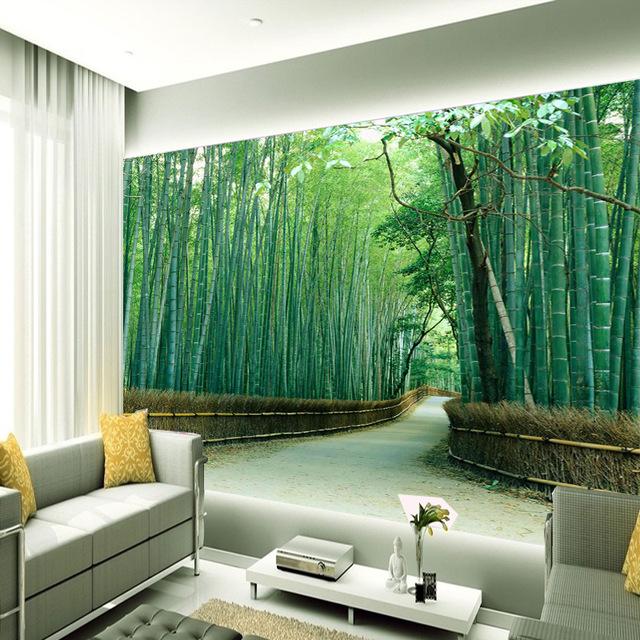 skog tapet bambu träd fototapet vardagsrum