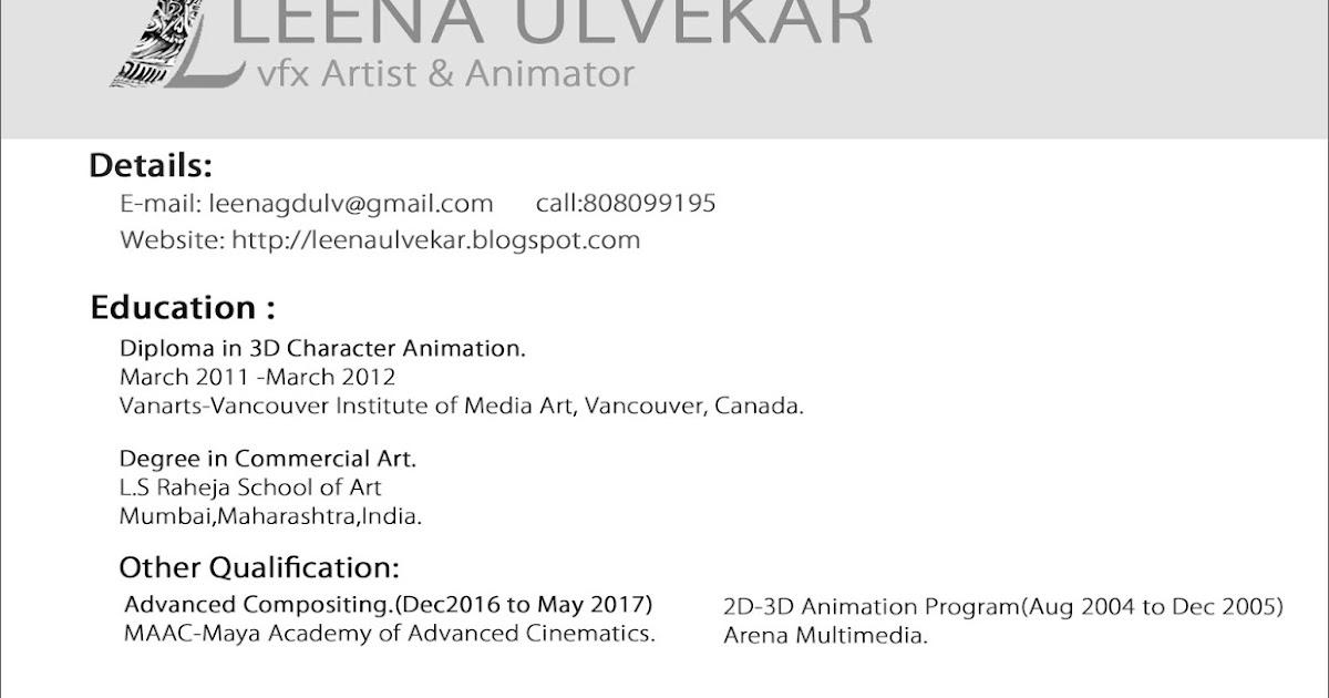 Leena Ulvekar Vfx Compositing Matte Painting Artist Resume