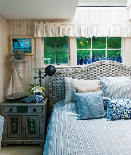 Gray Rattan Headboard for Rustic Cottage Bedroom
