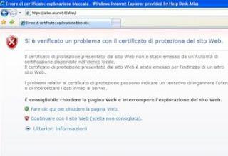 problema col certificato del sito