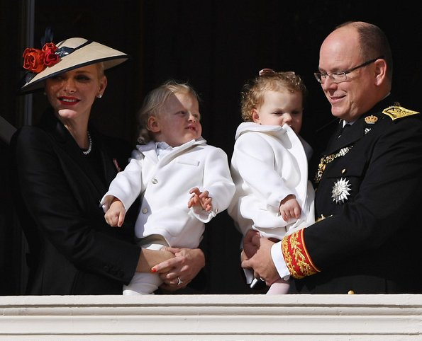 Prince Albert II and Princess Charlene with their twins Prince Jacques and Princess Gabriella of Monaco appear on the balcony of the Monaco Palace during the celebrations marking Monaco's National Day in Monaco.