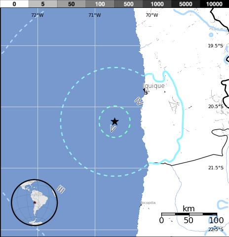 Epicentrio sismo de 5,8 grados en Norte de Chile, 08 de Enero 2014