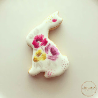 rabbit cookies painted with rose in natural food colouring