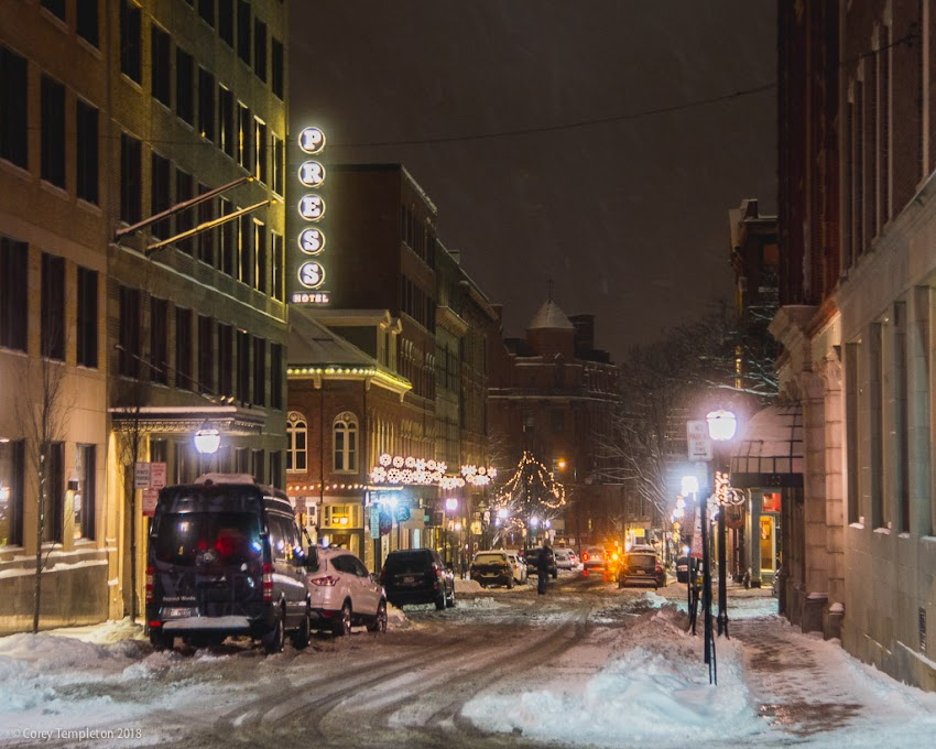 Portland, Maine USA January 2018 photo by Corey Templeton. Looking down Exchange Street, from in front of City Hall.