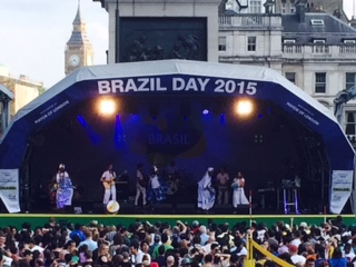 Pic of Brazilian dancers and singers on stage in Trafalgar Square