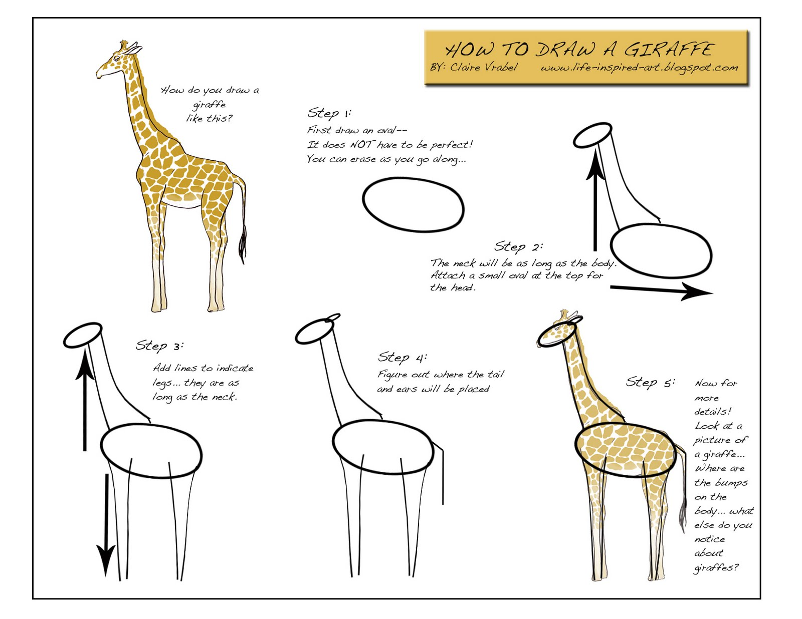 Life Inspired Art: How to Draw a Giraffe!