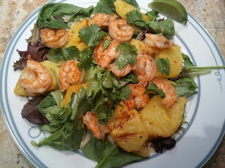 grilled shrimp salad with honey-lime dressing