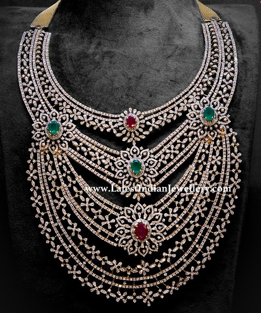 Multi Layer Diamond Bridal Necklace