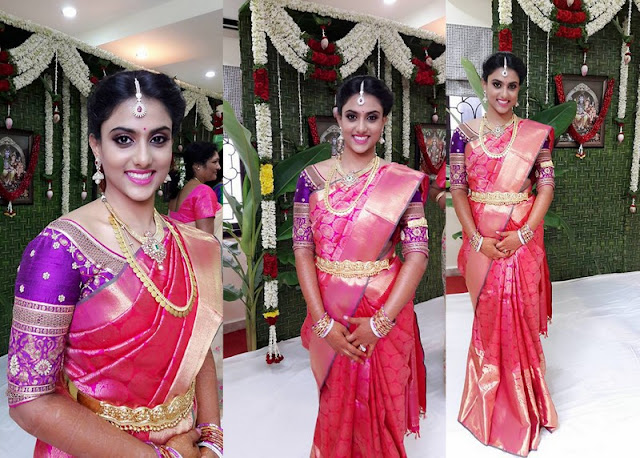 Bride in Pink Kachi Sari Elbow Blouse