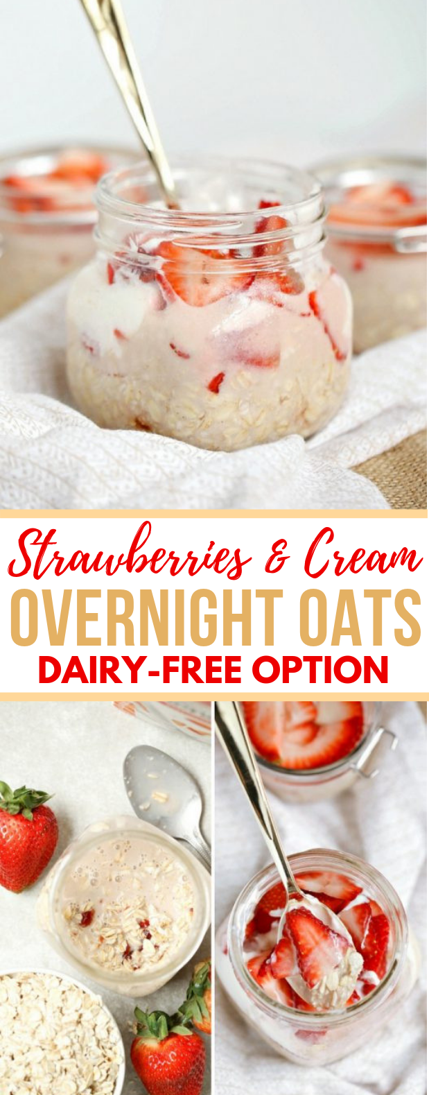 Strawberries and Cream Overnight Oats #healthydiet #breakfast