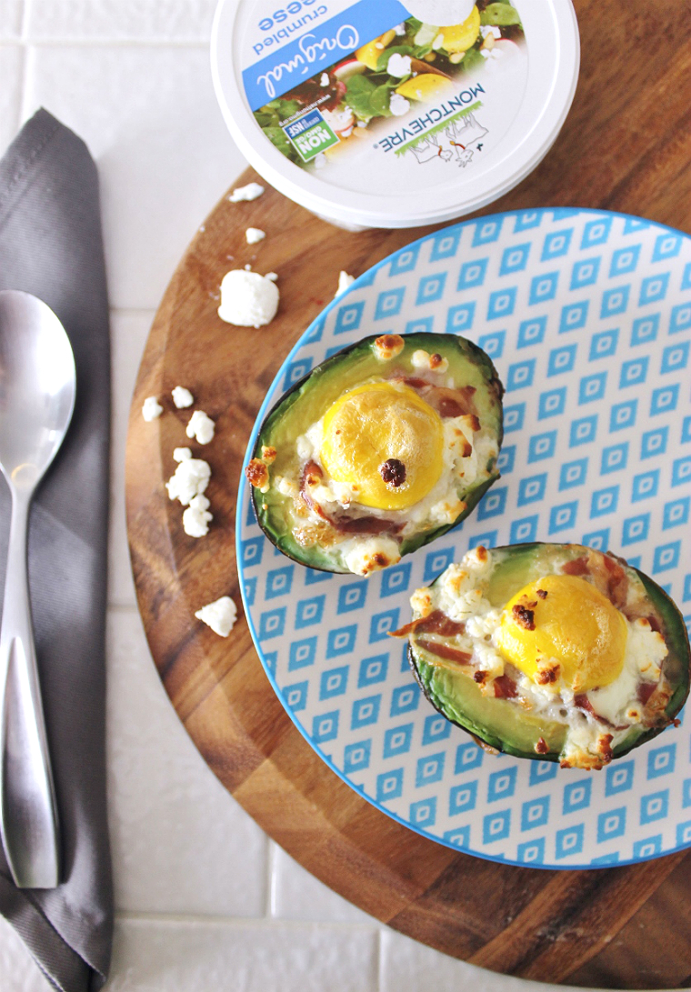 Baked Prosciutto, Egg, Goat Cheese Avocados made with #MontchevreIsGoat Cheese #AD