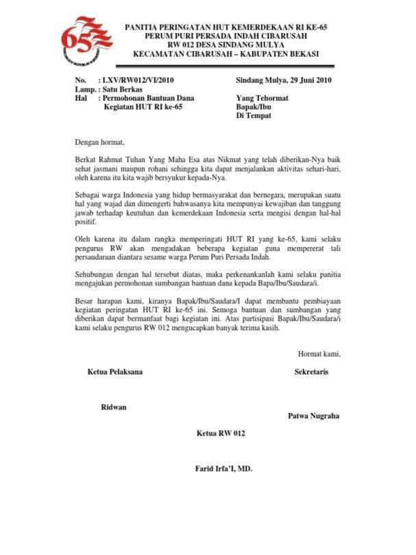 contoh proposal pengajuan dana kegiatan 17 agustus