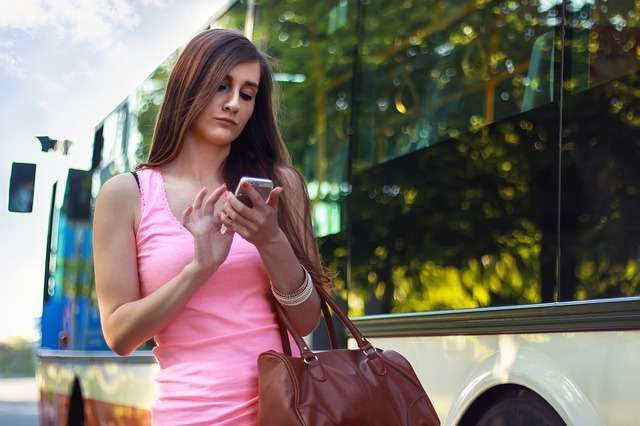 bus public transport women traveler