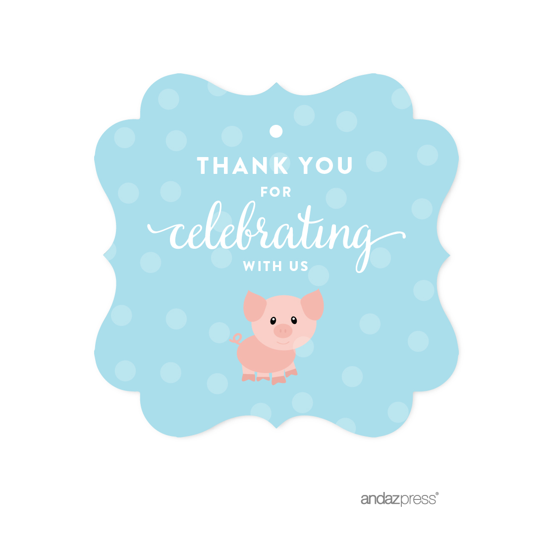 Andaz Press Birthday Fancy Frame Gift Tags Thank You For Celebrating With Us Farm Animal Cow 24 Pack Gifts And Party Favors