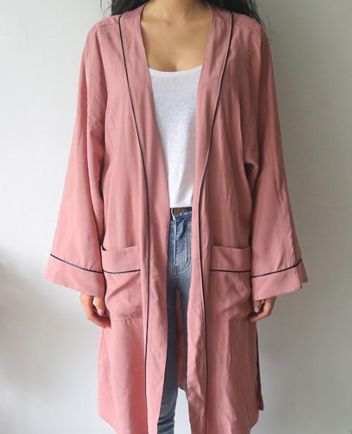 Contrast Trim Accent Robe Coat
