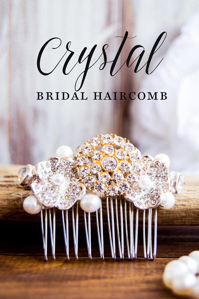 diy crystal bridal hair comb final shot close up