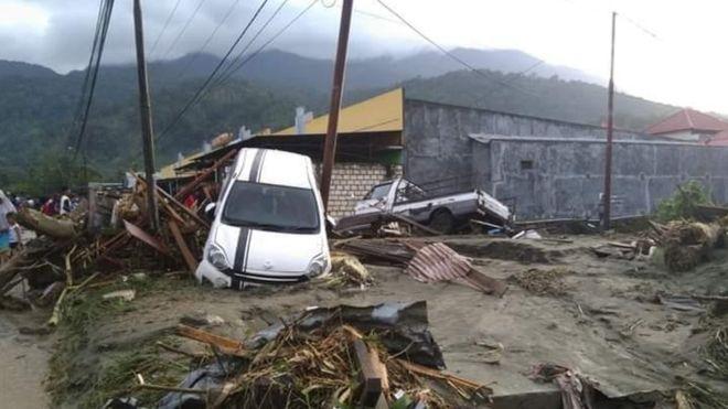Salah satu titik lokasi hantaman banjir bandang Sentani