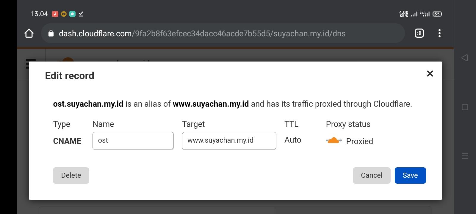 Cara membuat subdomain di Cloudflare