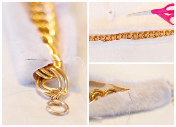 gargantilla cadenas, gargantilla piel, labores, accesorios, manualidades
