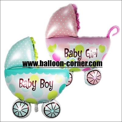 Balon Foil Baby Stroller Baby Boy & Baby Girl
