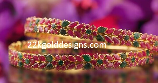 Ruby Emerald Gold Bangles
