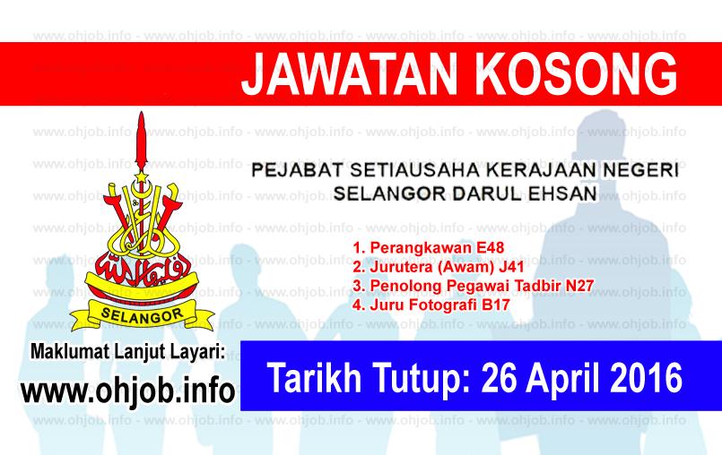 Jawatan Kerja Kosong Pejabat Setiausaha Kerajaan Negeri Selangor logo www.ohjob.info april 2016