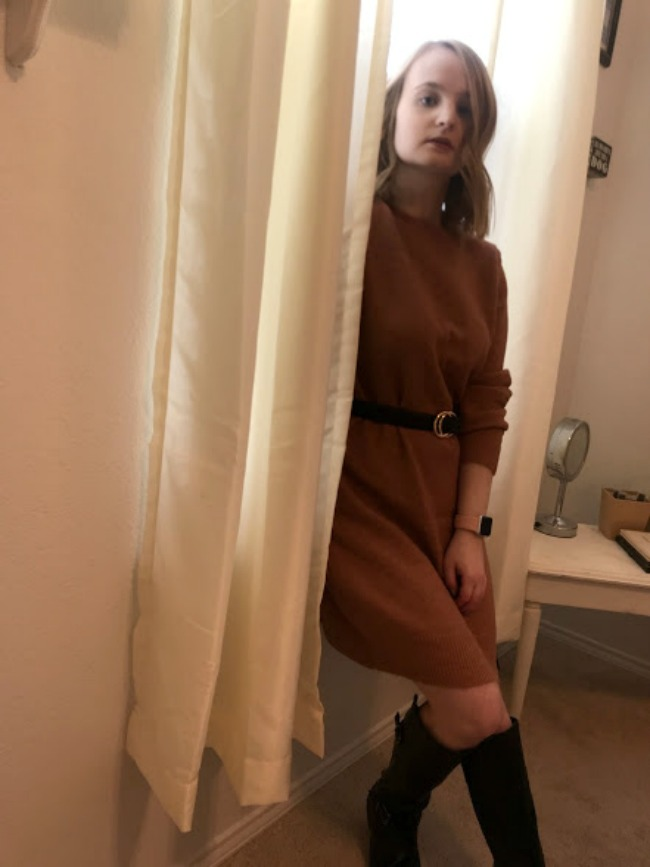 Sweater Dress And Belt Outfit