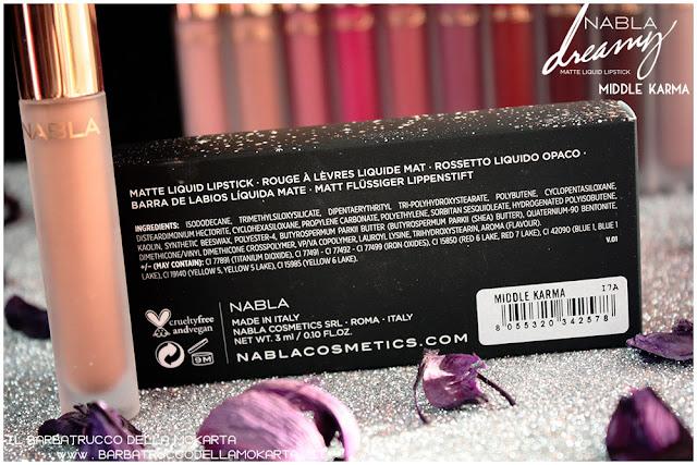 middle karma Dreamy Matte Liquid Lipstick rossetto liquido nabla cosmetics inci