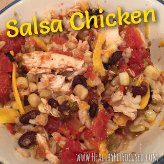 Salsa Chicken, Crockpot meal, quick and easy healthy recipe!  Julie Little Fitness, www.HealthyFitFocused.com
