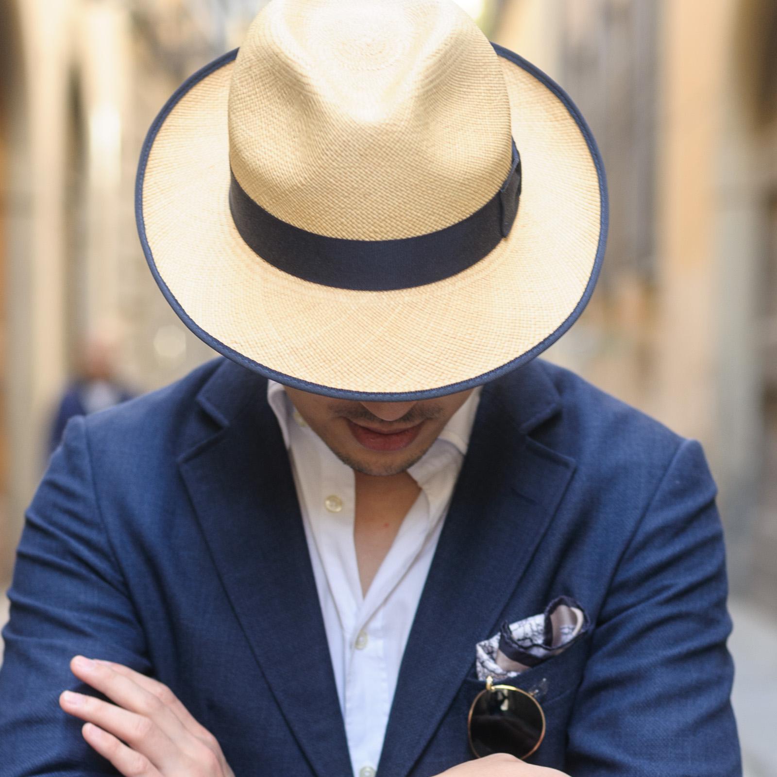 Lana Fresco, Navy Blazer, Herringbone Australia, Uniqlo Chinos, Crockett & Jones Loafers, Christys' Hats, Orient Star, Ray-ban