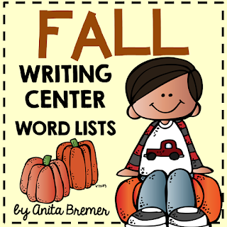 FREE Fall themed word charts, perfect for a writing center and Daily 5. K-2 #freebies #fallwriting #kindergarten #1stgrade #2ndgrade #writingcenter #daily5