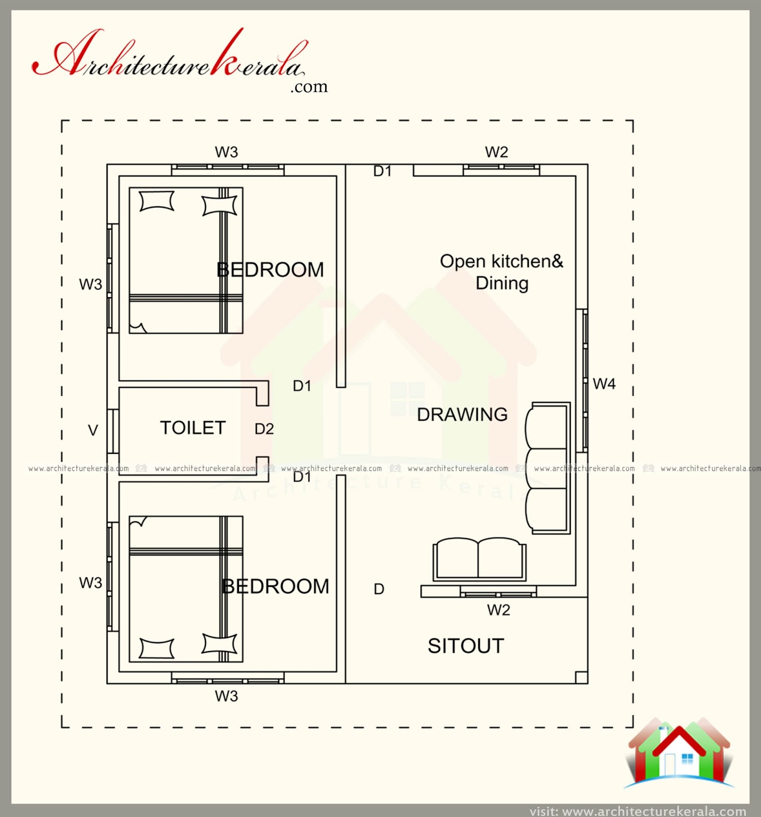 500 square feet house plan with elevation architecture for Square house plans 2 bedroom
