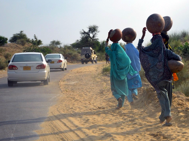 In Thar Desert, women and children, endangering their lives, walk more than five miles every day to get access to water source