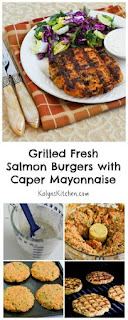 Grilled Fresh Salmon Burgers with Caper Mayonnaise [from KalynsKitchen.com}