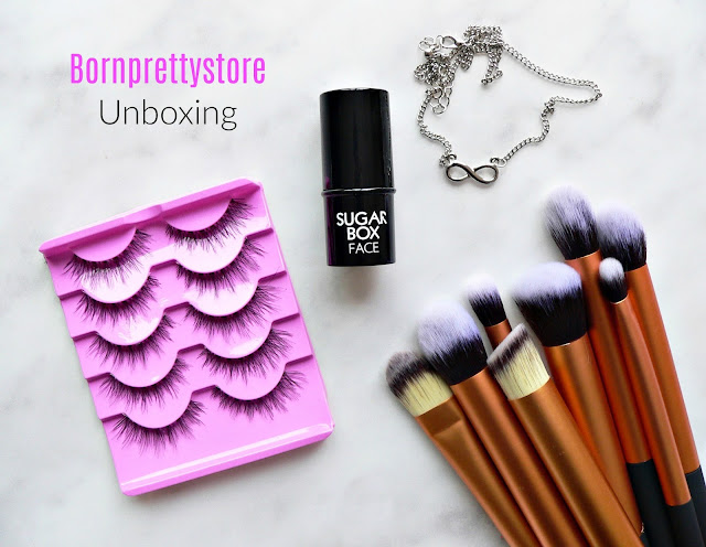 Bornprettysore lashes, highlighter, necklace, brush set, make-up