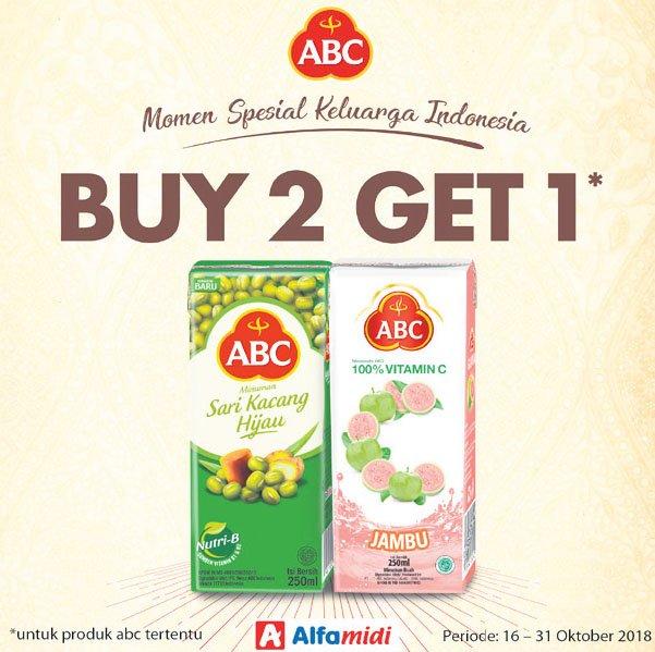 Alfamidi - Promo Minuman ABC 250 ml Buy 2 Get 1(s.d 31 Okt 2018)