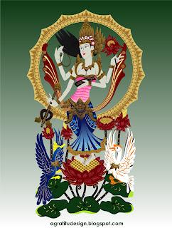 Goddess Sarasvati Balinese Style Vector