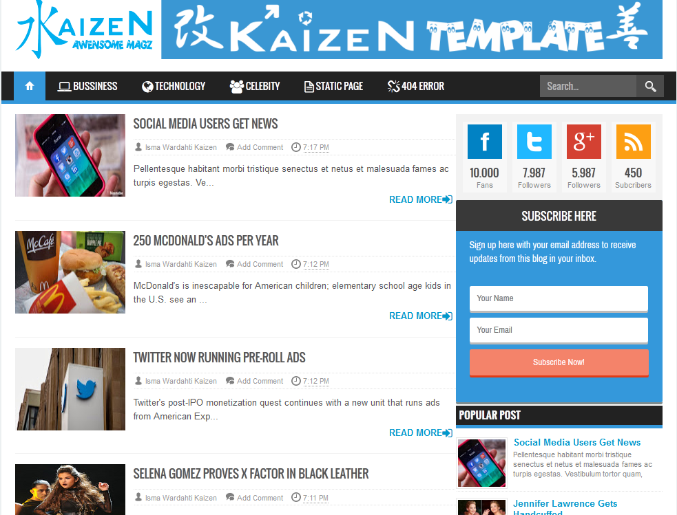 Kaizen Awesome Magz Blogger Template