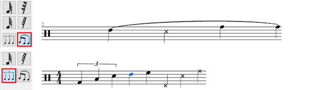 Creating Slurs and Tuplets in Crescendo Music Notation Software